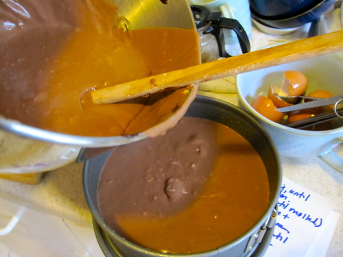 Chocolate Caramel Cheesecake: from the mixer to the pan