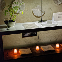candle, book, wine, plant, shelf