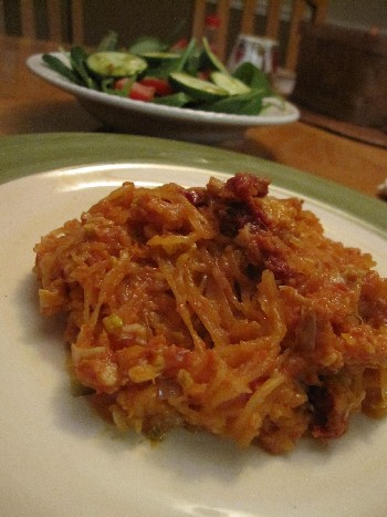 Sun Dried Tomato Artichoke Spaghetti Squash