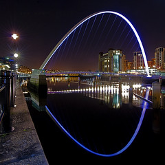 Millenium Reflection (AJ_Airey) Tags: bridge reflection night newcastle nikon millenium baltic tyne gateshead milleniumbridge northeast quayside d40x