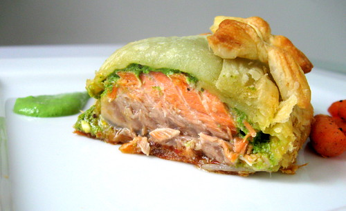 trout en croute close up