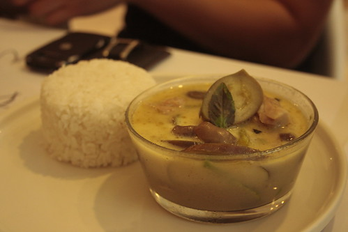 chicken + basil + green curry + rice