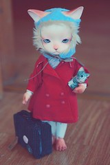 leaving (oso_polar) Tags: trip red fish hat cat leaving golden handmade coat type bjd goodbye baha heero tapioka pipos joutney aviatot