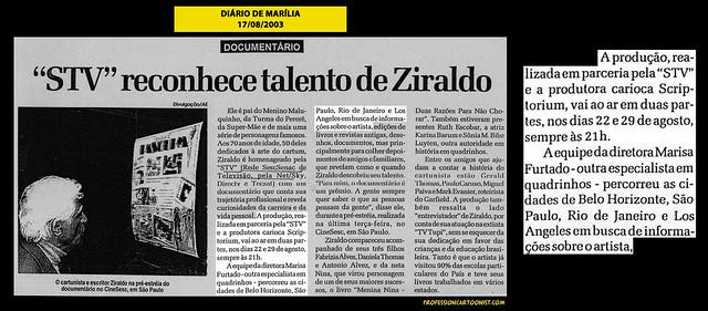 """""""STV reconhece talento de Ziraldo"""" - Diário de Marília - 17/08/2003"""