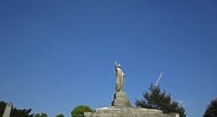 kamikaze lady (maximorgana) Tags: blue sky sculpture tree green london cemetery plane court crane damaged earls brompton monolito estela