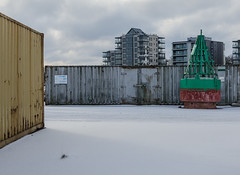 Harbour (AstridWestvang) Tags: building buoy containers industry snow tønsberg vestfold