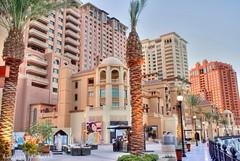 Palms in the pearl Qatar (qatari star) Tags: light tower palms island star palm pearl hamad soe hdr doha qatar     qatari marri      goldstaraward