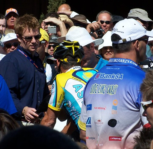 Lance Armstrong being interviewed at Tour Down Under 2009