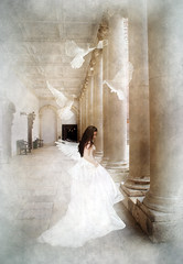 Her Dreams Gave Her Wings (www.LKGPhoto.com) Tags: photomanipulation print bride digitalart explore fantasy dreams dreamy bridal doves hamptoncourtpalace 5for2 wwwlkgphotocom
