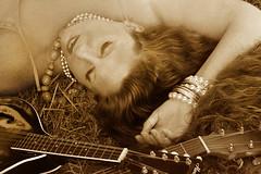 Sepia (shadamai) Tags: portrait woman sepia julie guitar mandolin instruments juliaann flickrchallengegroup