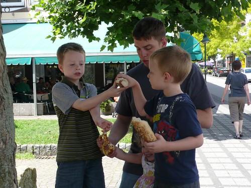 Sharing pretzel-bread