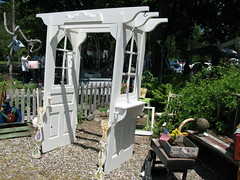 Garden Arbor Idea (sunshinesyrie) Tags: old garden idea outsiderart handmade michigan unique oneofakind creative frugal arbor secondlife oddities recycle salvage yardart whimsical reuse picketfence repurposing salvaged gardenart reworked olddoors reprocessed gardenarbor paintedwhite whitewoodwork armadamichigan