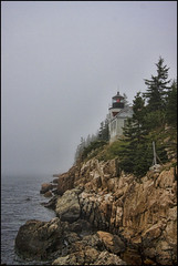 Bass Harbor Light (Kadacat (Marlene)) Tags: ocean fog rocks maine mountdesertisland bassharborlighthouse canon40d kadacat vosplusbellesphotos vosbellesphotos summervacation2009