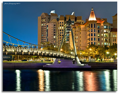 """A Bridge in a Golden Castle"" :: Tanjong Rhu Bridge-DRI (alner_s) Tags: bridge sunset nikon singapore bluehour nokton d60 kallang nikond60 alners garbongbisaya alnerssuello"