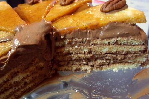 Dobos torte, sliced