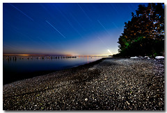 WAIT FOR IT !!!! (_Val W) Tags: longexposure nightphotography ontario lakeerie greatlakes beaches moonlight summertime blueskies afterdark thebeach startrails erieau pentaxk10d kickassflashlight valwest imgp9445
