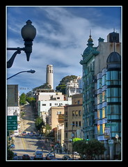 San Francisco hill-street, Coit tower, Green Building and a lamp (Mike G. K.) Tags: sanfrancisco california road street usa lamp hill coittower uphill greenbuilding mikegk:gettyimages=submitted