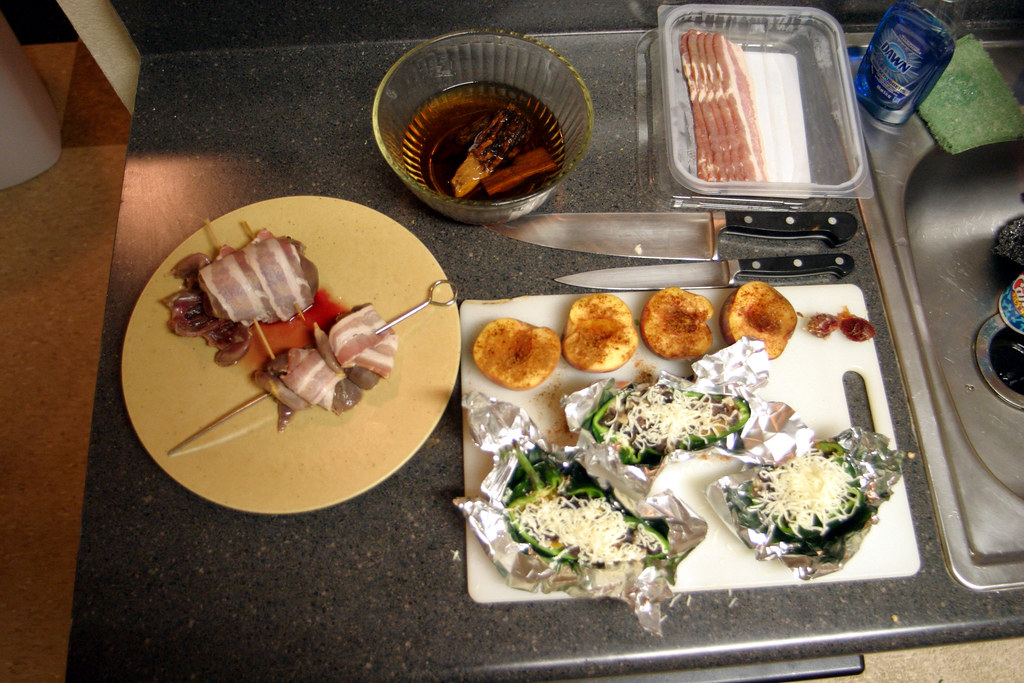 Grilled Duck, Peaches, and Chile Relleno - Before