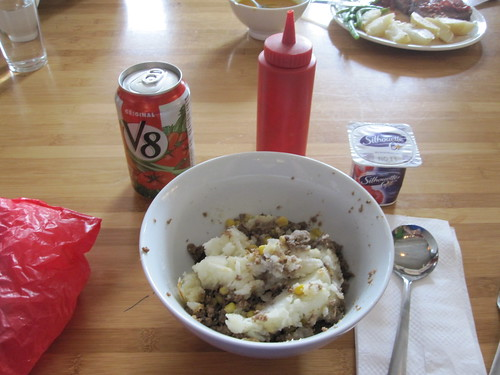 Sheppard's pie and yogurt from home, V8 from Pasta café, $1.90