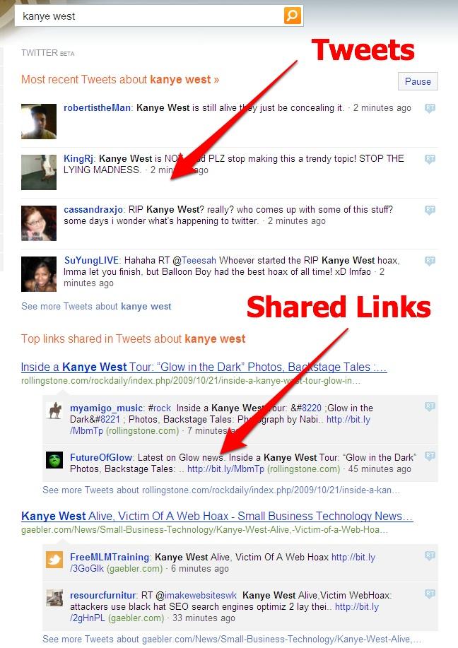Bing resultados con twitter