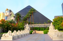 The Black Pyramid (Trim Reaper) Tags: trees usa statue sphinx america hotel nikon unitedstates lasvegas stones statues egyptian nikkor luxor blackpyramid 2470mm d90