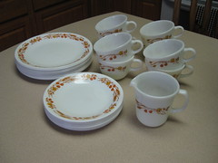 Harvest Home (twin72) Tags: vintage cups plates creamer pyrex corelle harvesthome wheatthrifted