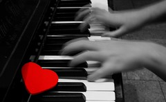 """Rushing and racing and running in circles... Somebody take my hand, and lead me. Slow me down"" (Love is the key) Tags: world red white black blur color movement hands heart bokeh piano mani running e movimento rosso bianco cuore nero correndo selective mondo rushing pianoforte"