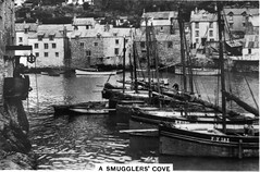 a smugglers cove (peet-astn) Tags: england boats coast cornwall harbour 1939 polperro cigarettecard seniorservice coastwise yourcountry