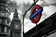 Big Ben with Underground Sign (josche) Tags: uk england white black color colour london sign underground big europa europe ben farbe schwarz zeichen weis abigfave platinumphoto anawesomeshot platinumheartaward goldstaraward