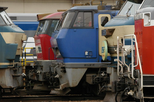 Electric locomotives in Suita rail yard,Suita,Osaka,Japan 2009/11/22