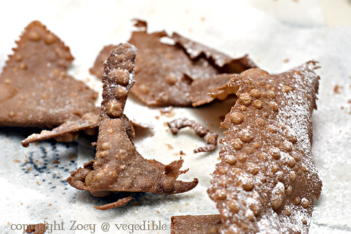 Dough scraps with confectioners' sugar