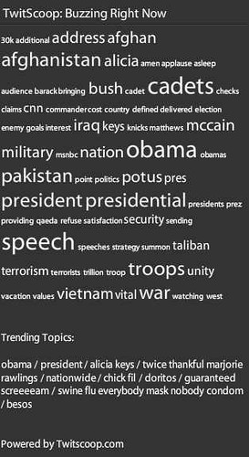 TweetDeck TwitScoop tag cloud during Obama address