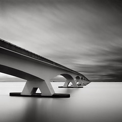 Bridge Study V - The Other Side (Joel Tjintjelaar) Tags: bw bwphotography zeelandbrug daytimelongexposure zeelandbridge nd110 tjintjelaar michaellevininspired bridgestudyv bwlongexposurephotography