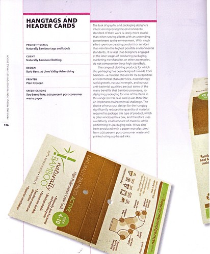 Naturally Bamboo 100% recycled w/30%pcw hangtags recently featured in Print & Production Finishes for Sustainable Design by Edward Denison