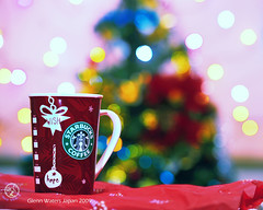 A Merry Coffee Christmas my friends.  Glenn E Waters. Japan. Over 38,000 visits to this image. (Glenn Waters in Japan.) Tags: christmas xmas cup coffee japan japanese hope tokyo java yummy nikon yum bokeh 15 explore delicious starbucks mug coffeemug wish frontpage 2009 japon starbuckscoffee   celibration explored  d700 ventibold  glennwaters afsnikkor70200mmf28gedvrii  officialmug
