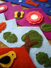 holiday gifts in progress (lilfishstudios) Tags: fish flower tree bird wool nature kids butterfly leaf oak colorful recycled handmade craft wip felt handstitched crowns lilfishstudios holidaygifts garmentwool feltedcoats