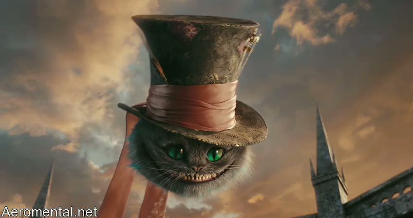 Alice in Wonderland Cheshire Cat floating with a hat