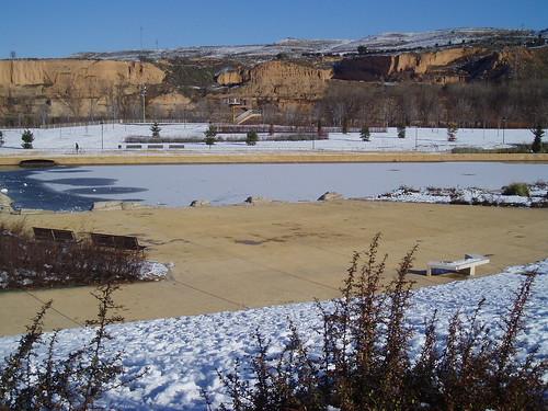 Parque del Ebro, laguna helada