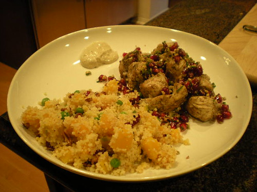 Chicken kebabs with pom relish and squash couscous