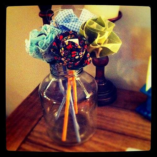 Fabric flowers I made last night. So easy!