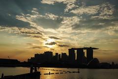 Skyline Silhouette (elenaleong) Tags: marinabarrage marinabay skyline sunset silhouettes reflections bayfront waterfront iconiclandmark elenaleong singaporeskyline