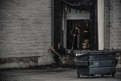the cleanup man... (Alvin Harp) Tags: hackensack newjersey december 2016 dailylife dumpster loadingdock warehouse sonyilce7rm2 fe24240mm alvinharp