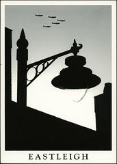 postcard - from Duplevista, England (Jassy-50) Tags: postcard postcrossing ras england greatbritain eastleigh hampshire spitfire airplane plane warplane blackwhite