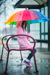 saves from the rain (Studio.R) Tags: asian littlegirls kids child childphotography childern rain raining color colors rainbow sonyphoto sony85mmgm streetphotography sonya7rii sonyalpha hmong