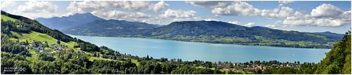 Panoramablick vom Gahberg auf den Attersee