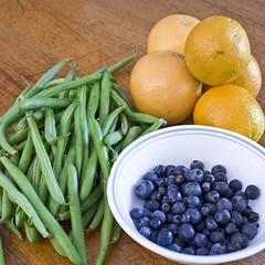 oranges blueberries green beans