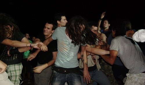 Moshing at a punk concert