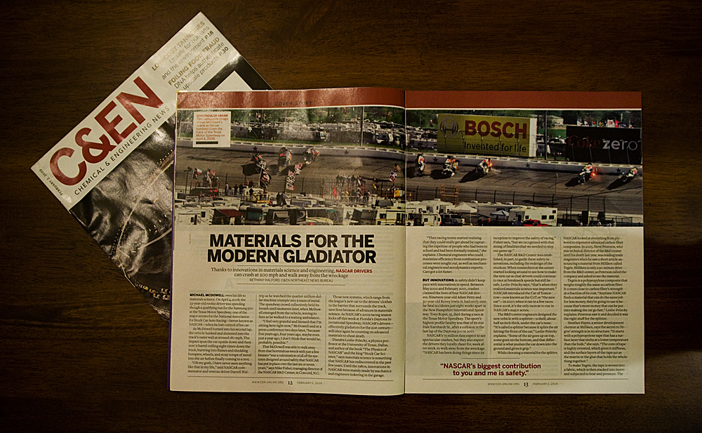 NASCAR photo used for 2 page spread in Chemical & Engineering News