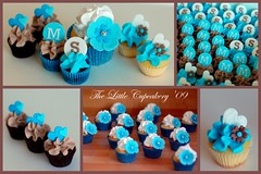 Engagement Cupcake set (Klaire with a Cake) Tags: blue brown white flower cake engagement little tlc fondant cupcakery klairescupcakes