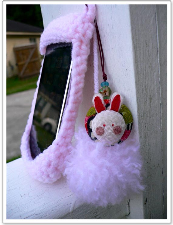 Hand Knit iPhone Bunny Suit